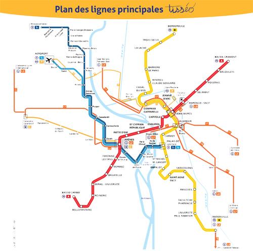 Plan lignes principales Toulouse